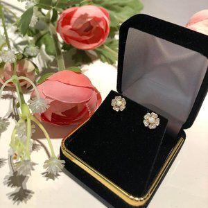 14 Karat Gold White Opal CZ Flower Stud Earrings